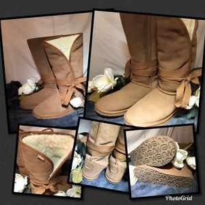 Size 10 EMU suede leather tan boots